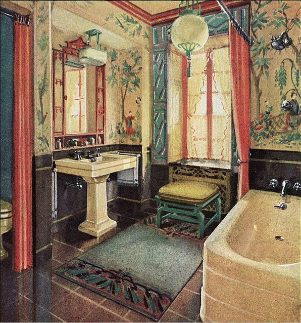 Not applicable to my house, but still. Wallpapered Oriental Bathroom, c. 1920s