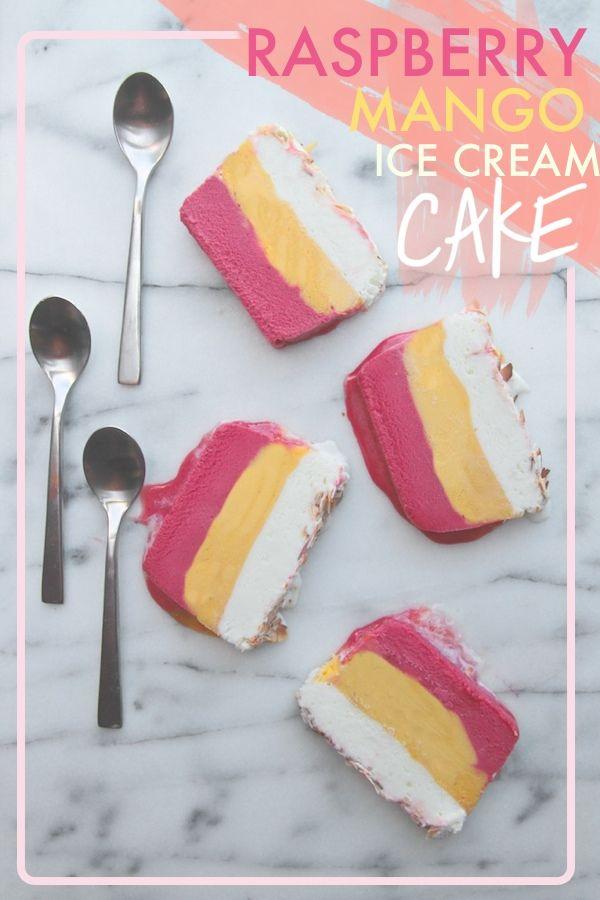 Raspberry Mango Ice Cream Cake