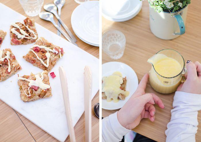 Recept: Honungskakor med rabarber