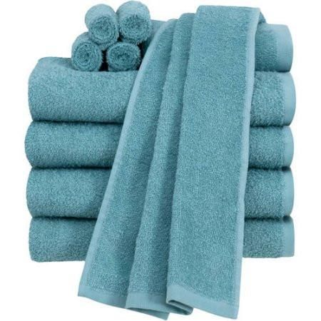 40. 2 towel sets;  avoid white, buy quality.  Honeycomb towels are light and very absorbent.  A set is 1 face cloth, 1 small and 1 bath towel.