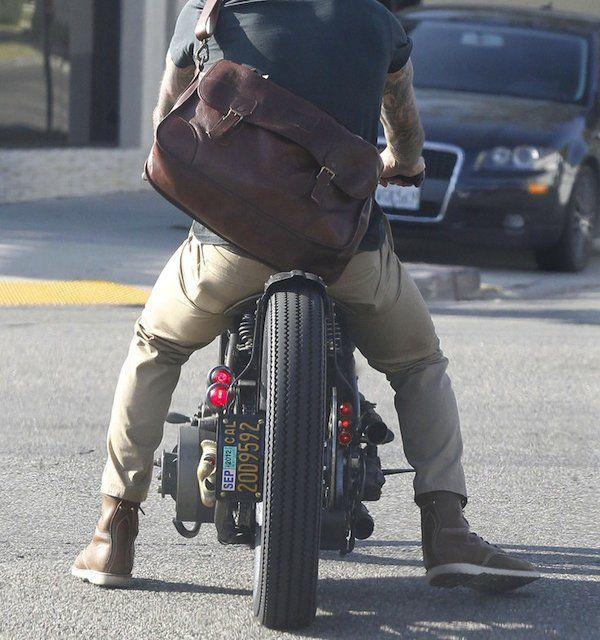 Deerfield Vachetta Mailbag by Ralph Lauren on David Beckham on his Garage Company Custom Motorcycle