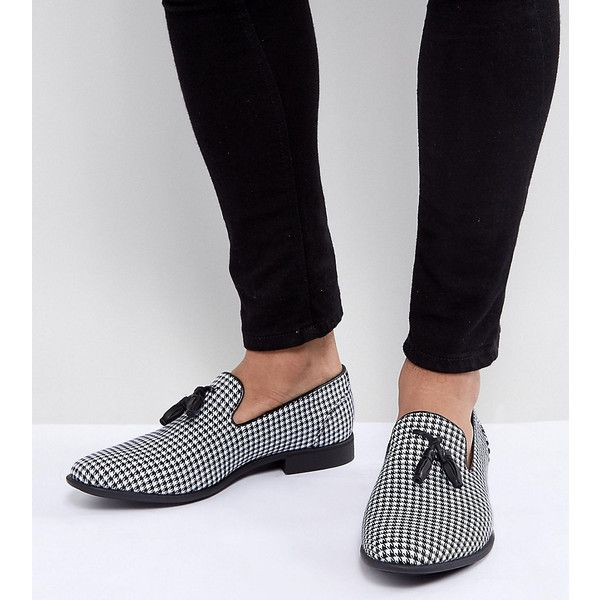 ASOS Wide Fit Tassel Loafer in Black And White Check ($46) ❤ liked on Polyvore featuring men's fashion, men's shoes, men's loafers, multi, asos mens shoes, slip on mens shoes, mens white and black dress shoes, black white mens dress shoes and mens tassel loafer shoes