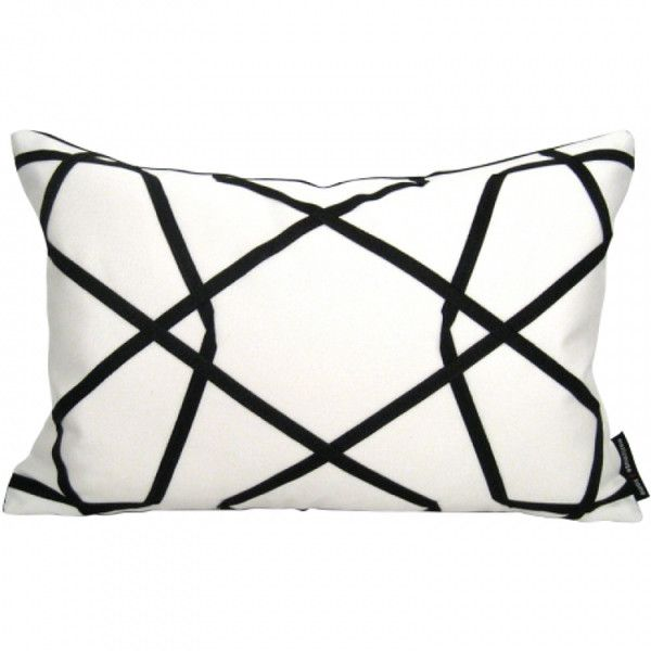 Mazizmuse Geometric Black and White Pillow found on Polyvore