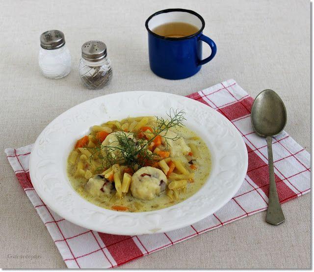 Gizi-receptjei. Várok mindenkit.: Kapros zöldbableves baconos krumpligombóccal.