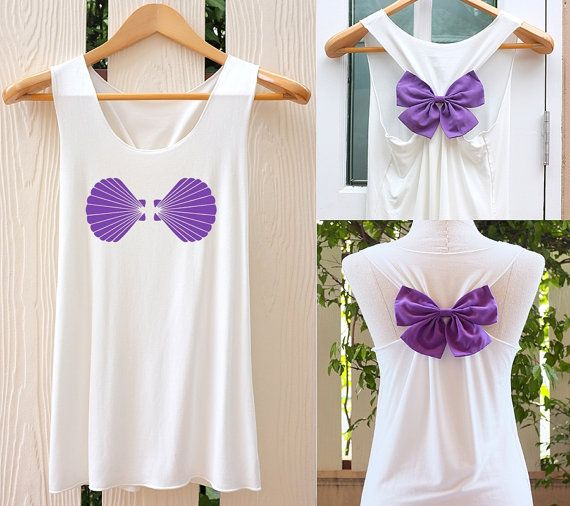 Hey, I found this really awesome Etsy listing at https://www.etsy.com/listing/227605177/shell-ariel-mermaid-bow-tank-top