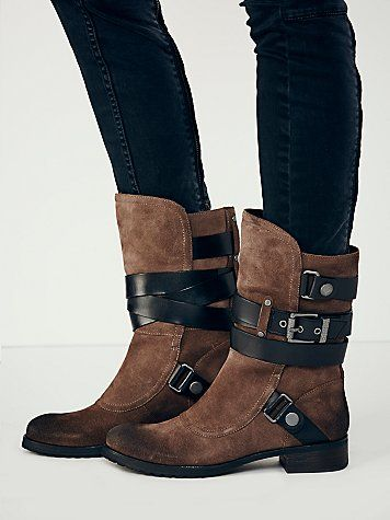 Fable Mid Boot | Suede equestrian inspired mid boots with leather strap and buckle detailing. Distressed, oiled finish at heel and toe - freepeople.com