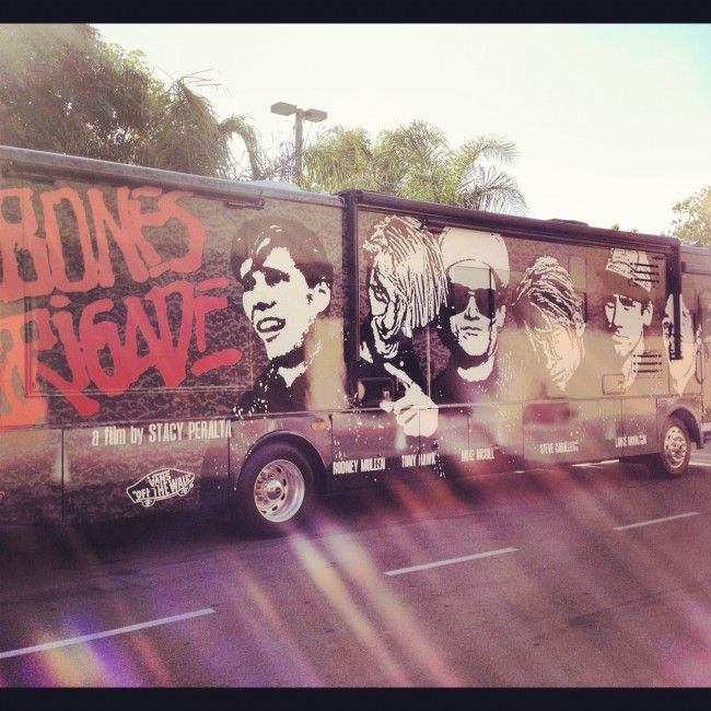 Bones Brigade bus at the premiere.Brigade Bus