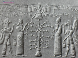 """An ancient Assyrian Seal depicting the Pomegranate tree as a tree of life symbol. The tree wears a crown and above it is the Sun God. The two men on either side hold a ray of the sun. Behind them are half-man half-eagle figures are holding pomegranate blossoms."""