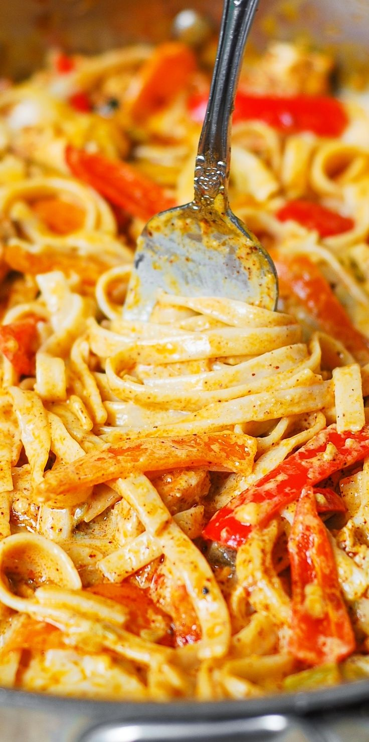 Mexican Chicken Pasta ~ with bell peppers and green chiles, in a creamy sauce made with Cheddar and Mozzarella cheeses and spices!