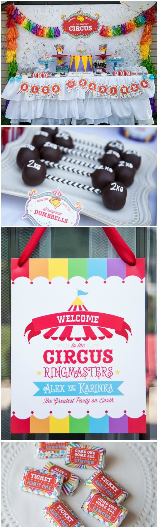 Circus Party Ideas (cutest strongman dumbbells!!)