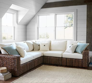 Seagrass Square Arm Sectional, 5 Piece Set Pictures