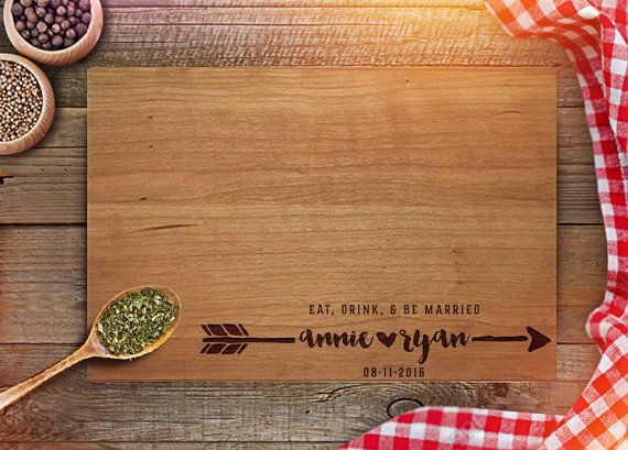 Personalized Cutting Board - Custom Wedding Gifts - Engraved Cutting Board - Eat Drink Be Married - Newly Weds Gift - kitchen décor - CB201