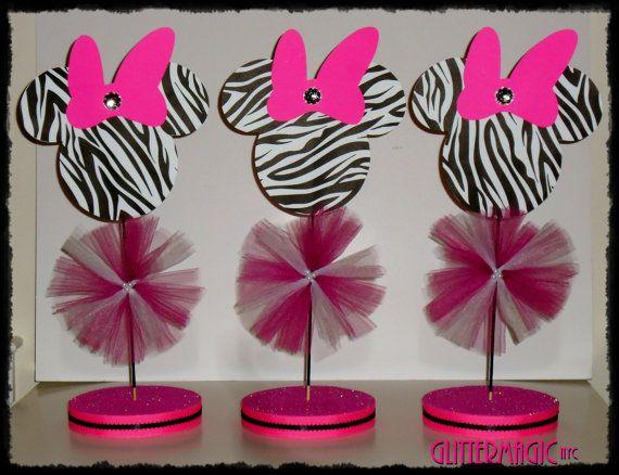 SET OF 2  Minnie Mouse Zebra Centerpiece / by GlitterMagic23s, $20.00