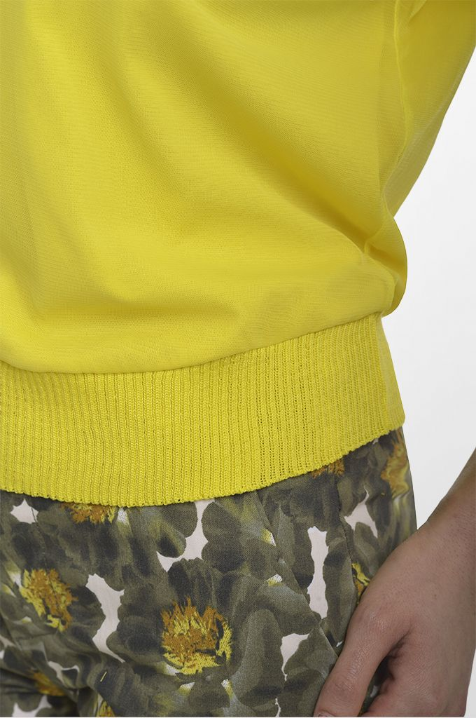 Sarah Lawrence - double layered short sleeve blouse, cropped printed pant.