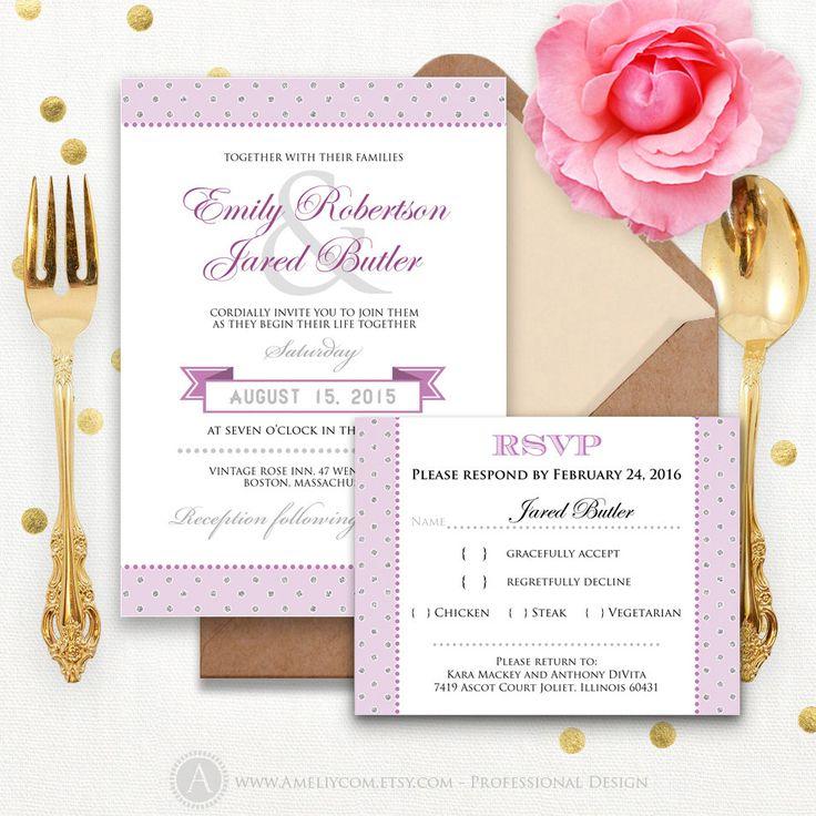 Printable Lilac U0026 Silver Weddings Invitation Set RSVP Card Editable Text  Invite Template INSTANT DOWNLOAD Purple