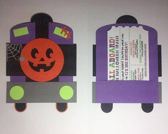 HALLOWEEN Train Invitations with Ticket Spooky Train