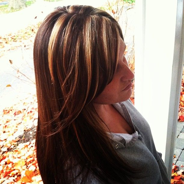 Chunky Blonde Highlights With A Cinnamon Brown Base