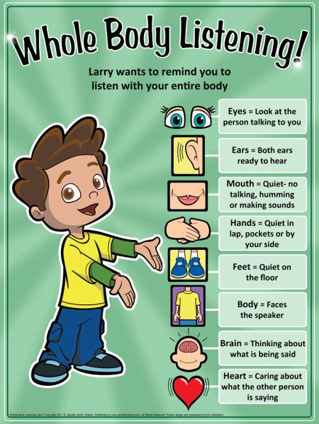 Children can practice whole body listening by referring to this detailed chart.