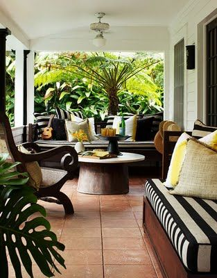 CHIC COASTAL LIVING: St. Regis Resort Hawaii...... love the black, white, yellow, terra cotta/brown and green.