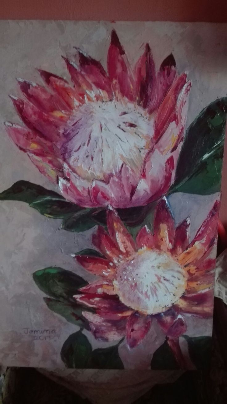 Another King protea oil painting. Artist Jemima.