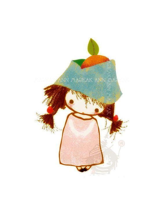 """○ Giclée Ary Print """"Orangekita"""" Cute  by © Majeak Ann"""