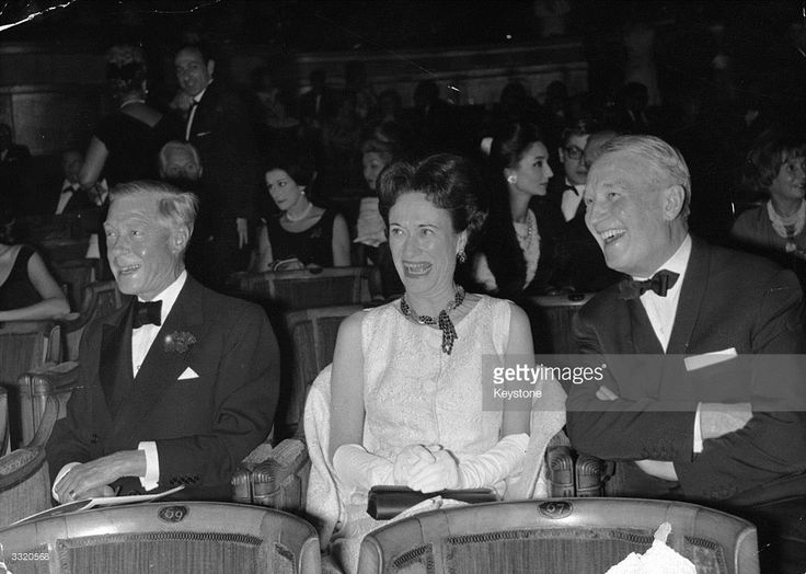 The Duke and Duchess of Windsor with actor Maurice Chevalier enjoying the International Dance Festival, which starred Rudolf Nureyev and Margot Fonteyn, at the Champs Elysees Theatre in Paris.