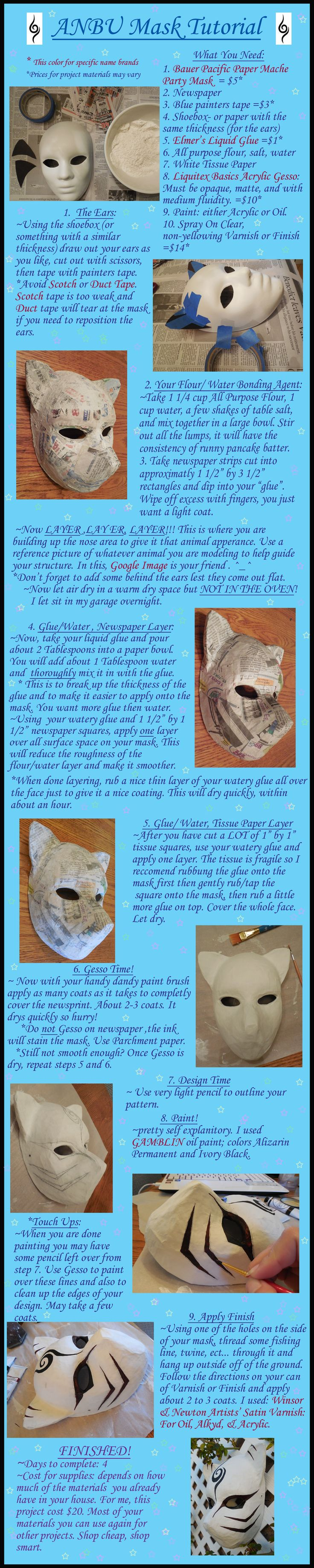 Papermache ANBU Mask Tutorial by AgentShoemaker http://amzn.to/2qVpaTc