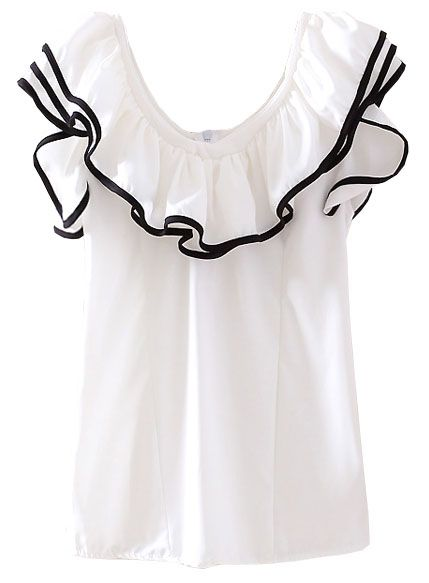 White Off the Shoulder Ruffles Chiffon Blouse