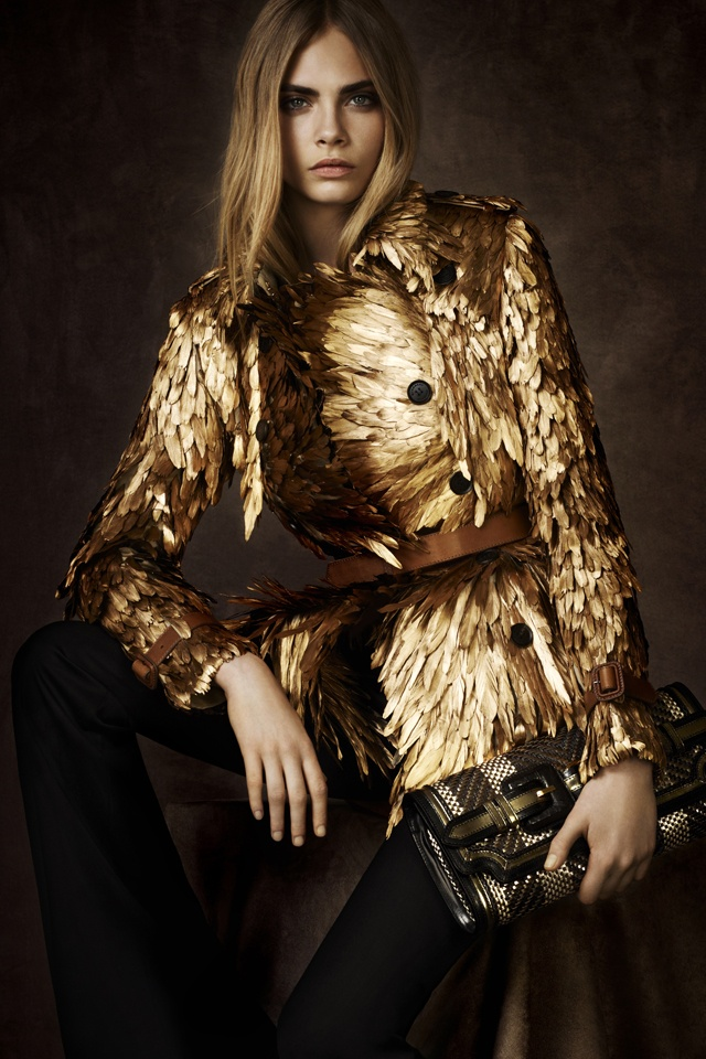 The Gold Feather Trench Coat from the Exclusive Burberry Regent Street Collection: Fashion, Gold Feathers, Street Collection, Style, Delevingne Face, Burberry Prorsum, Burberry Regent, Trench Coats, Regent Street