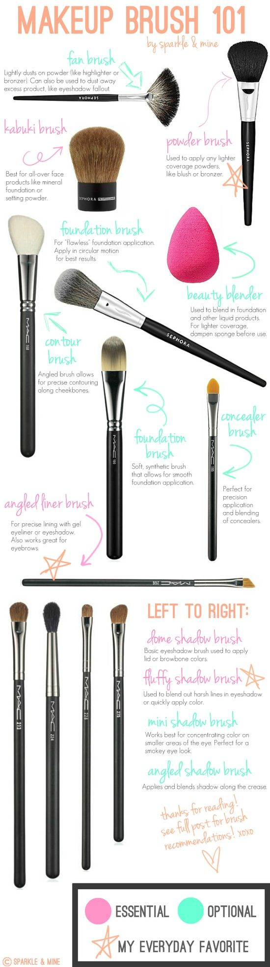 Makeup brushes just get this bottom four brushes and the beauty blender thee are essentials