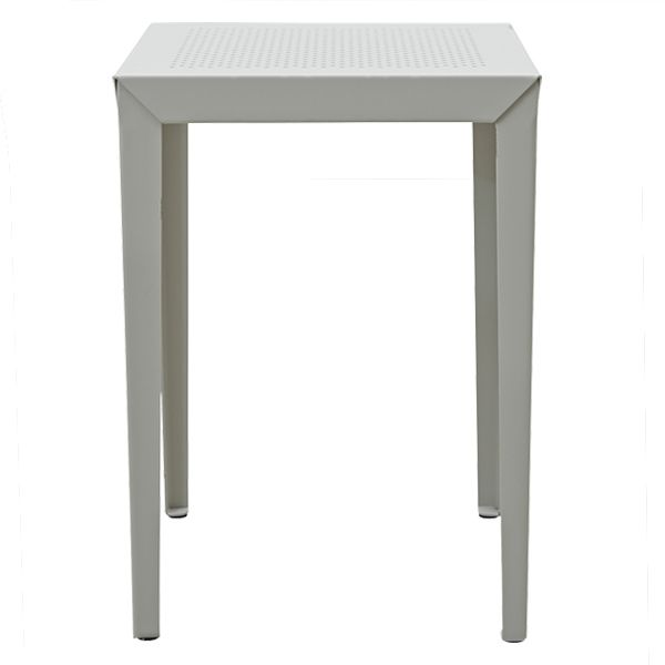 Metal Coffee Table in Light Grey: Metal side table with perforated top, with a beautiful matte light grey finish. Style in your living room, or as a simple and contemporary bedside table.