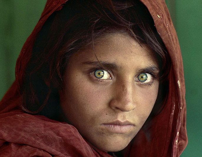 Sharbat Gula  Her sparkling green eyes are mesmerizing, but what else? She is known as the cover girl for National Geographic because Steve McCurry was fortunate enough to take her photograph while on assignment for National Geographic. Her photo is the most popular that the magazine has published.