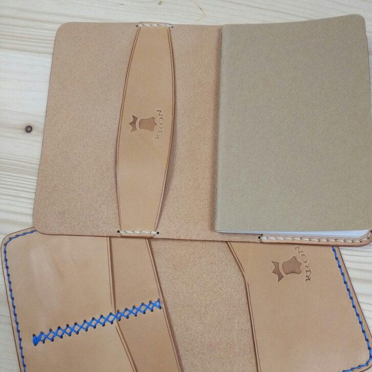 Aand done. Notebook cover & passport wallet with royal blue  thread