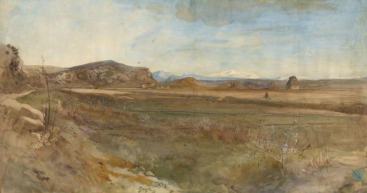 Campagna Landscape on the Via Flaminia; Franz Albert Venus (German, 1842 - 1871); Italy; 1869; Watercolor over graphite; 33 x 62.5 cm (13 x 24 5/8 in.); 2009.74.2; J. Paul Getty Museum, Los Angeles, California
