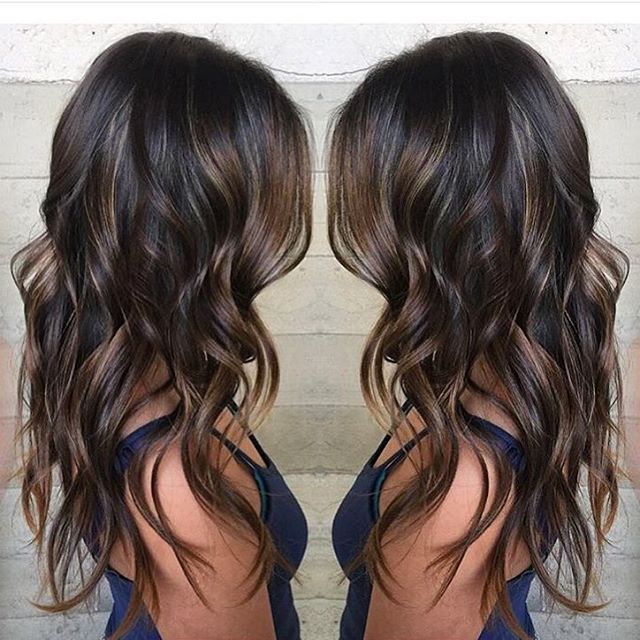 Beautiful piece-y brunette hair color and long hair by Jacqui of Butterfly Loft Salon hotonbeauty.com