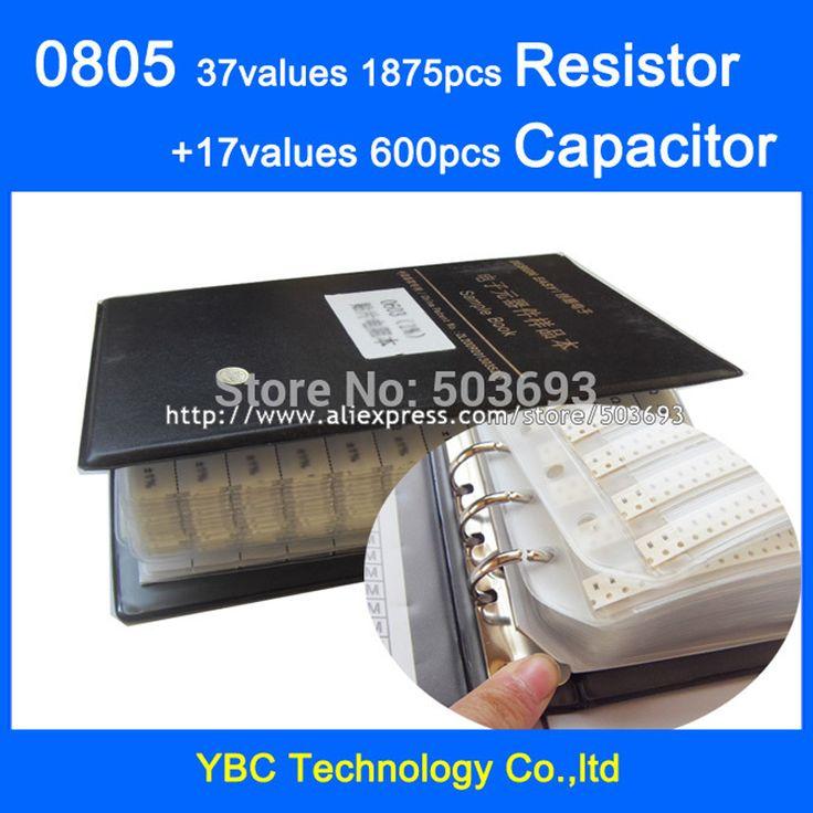Free shipping 0805 SMD Sample Book 37values 1875pcs Resistor Kit and 17values 600pcs Capacitor Set
