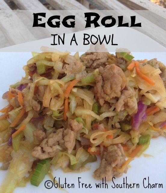 Egg Roll in bowl 1 lb ground pork 1 package coleslaw mix 3 ribs of celery, chopped 1 medium onion, chopped 3 cloves garlic, chopped 1 tsp fresh ginger, grated 3-4 Tbsp tamari sauce  1-2 tsp rice vinegar