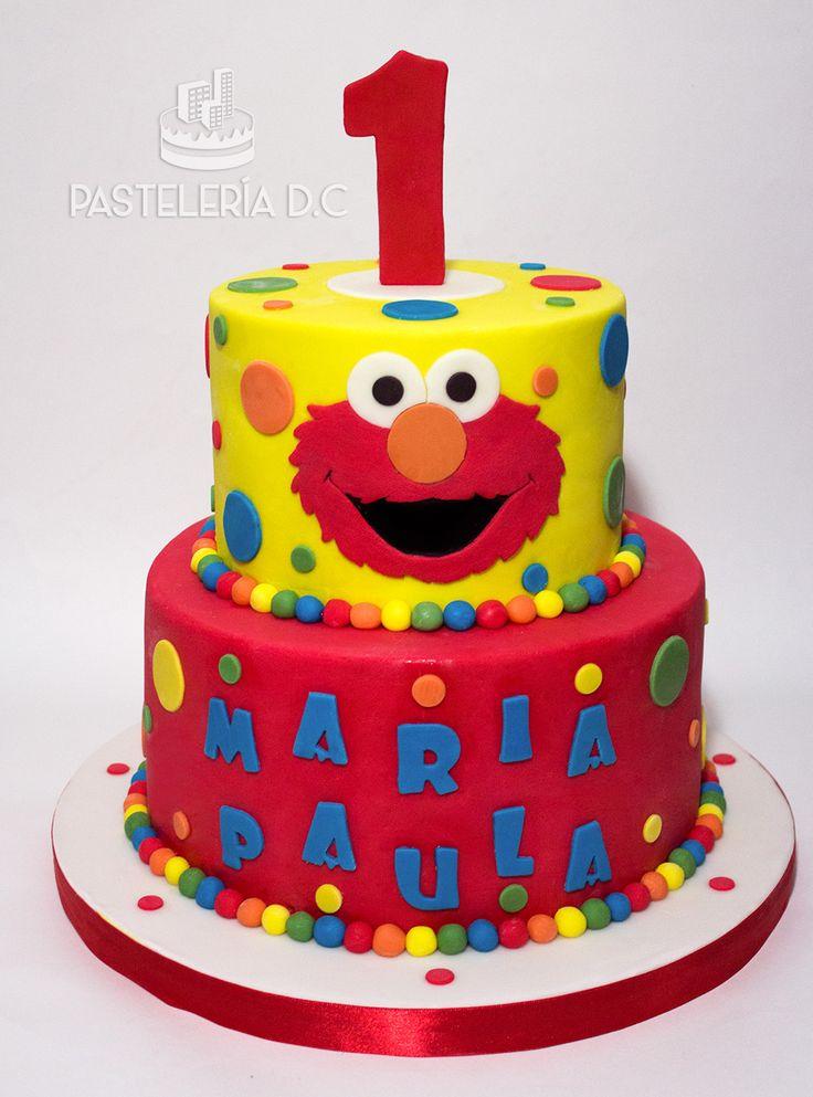 Torta temática de Elmo en diseño sencillo / Elmo simple cake.