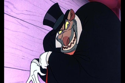 ratigan, from the great mouse detective, my favorite disney film. look at this guy. so diabolical.