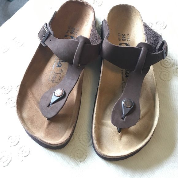 Betula sandals  by Birkenstock Never worn outside, just tried on on carpet.  The size runs a little small, it states 37, and I am a 7-71/2 and they were too small.  I would say more like a 6-61/2.  Just looked and I paid 50 for these on poshmark so 30 is a steal. Birkenstock Shoes Sandals