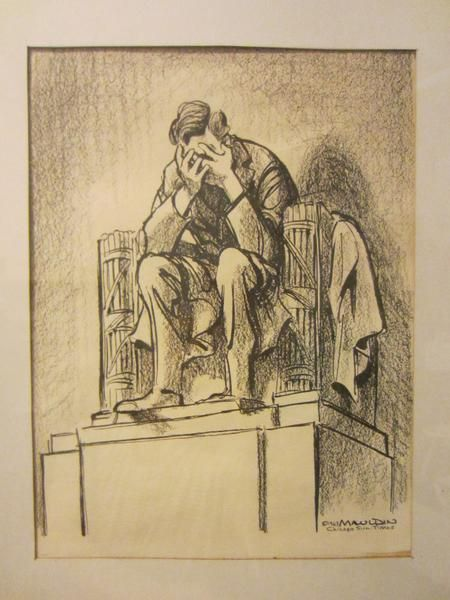 Chicago Sun-Times 1963 c art by Mauldin. A historic portrait print, Illustration of US President Abraham Lincoln. artist Mauldin's inspiration of the death of P