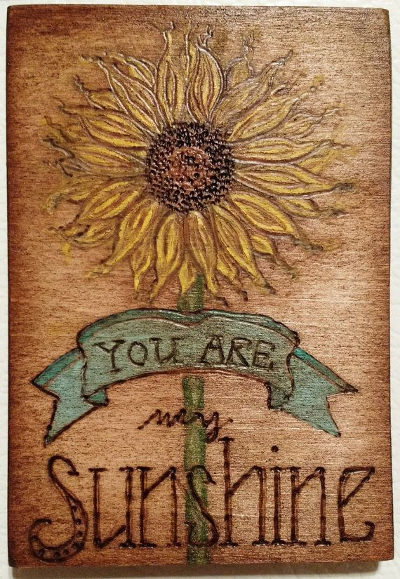 Sunflower Pyrography Magnet by ROCKLYNNBOUTIQUE on Etsy