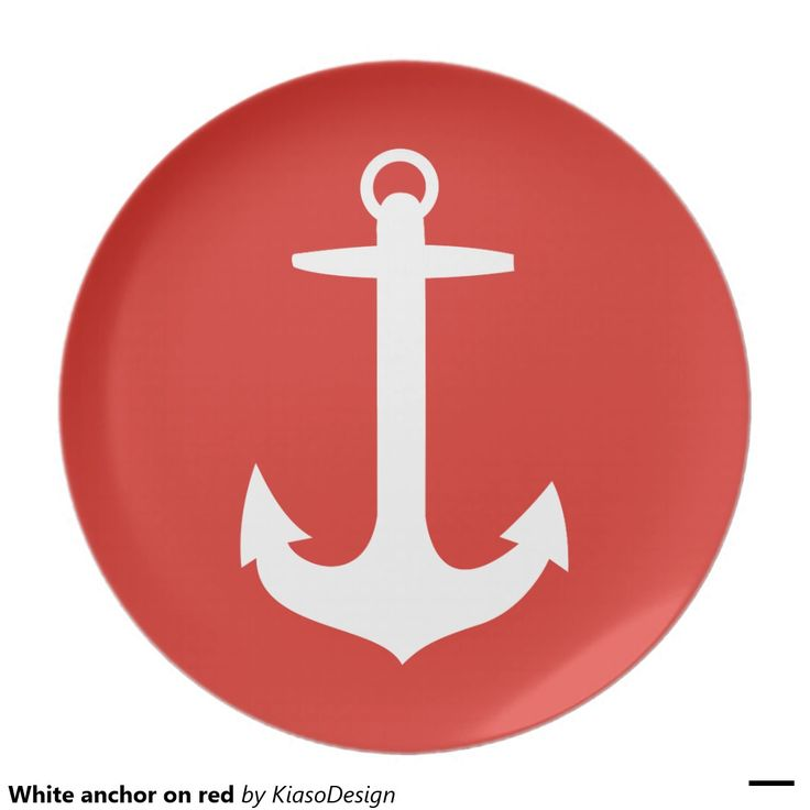 White anchor on red party plate