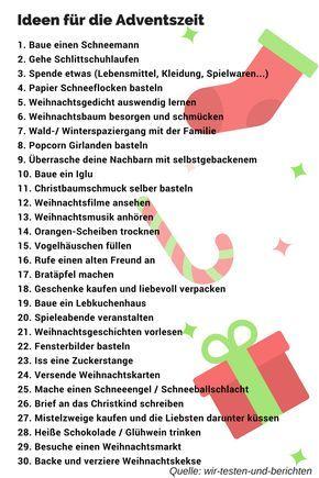 Ideen Liste zu Weihnachten und die Adventszeit. Christmas Ideas To-Do List
