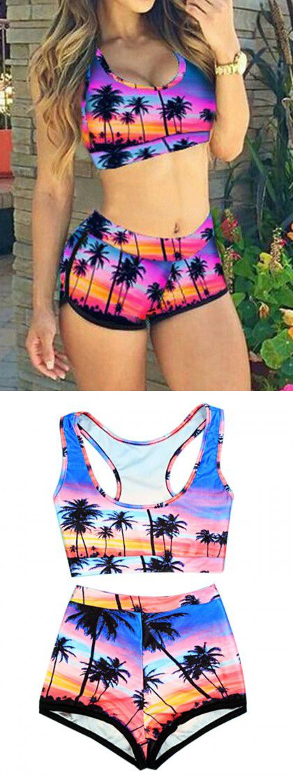 Purple Coconut Tree Print Crop Bikini Top and High Waist Bottom,sexy swimsuit for this summer!