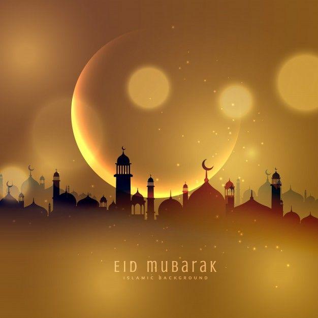 Fondo dorado de ciudad de eid mubarak  Vector Gratis