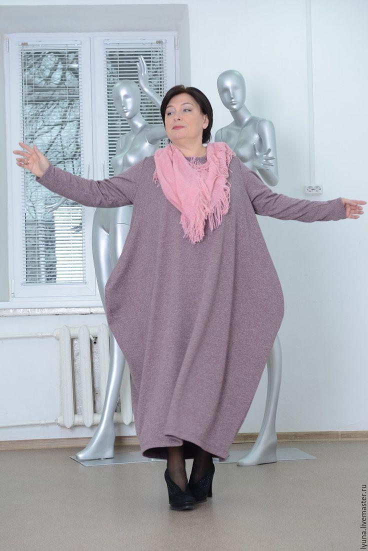 Купить Трикотажное платье-ромб с длинными рукавами бохо - брусничный, бохо, большие размеры