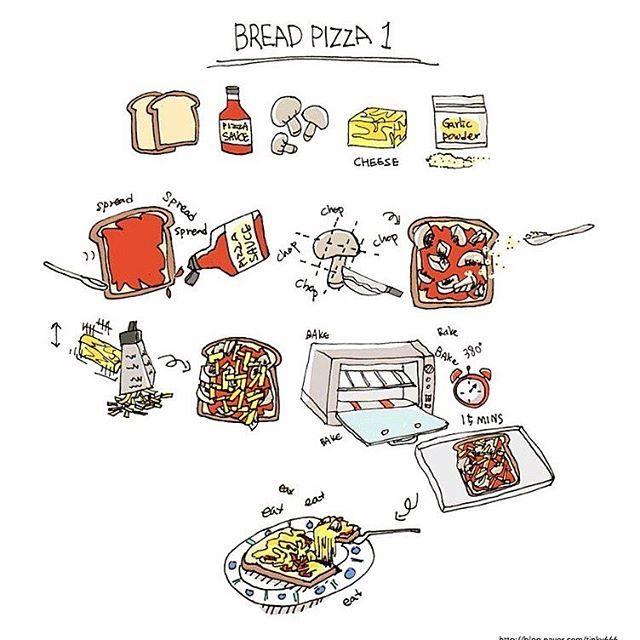 Bread Pizza Recipe Illustration #recipe #illustration #cooking #bread #pizza…