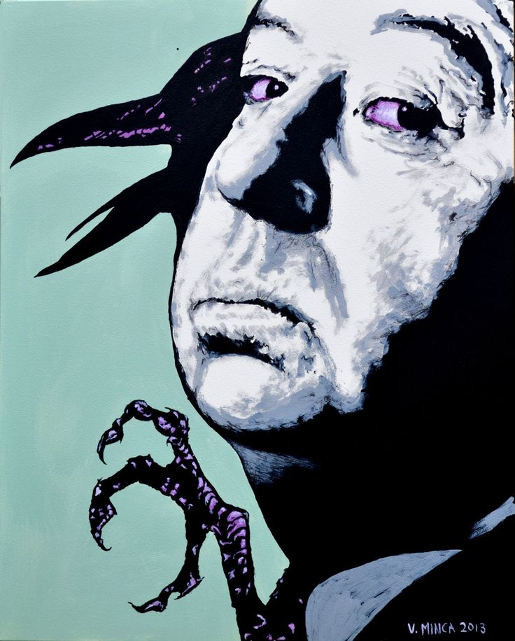 "Artist: Victor Minca Title: Alfred Hitchcock (1899 - 1980) English Film Director Year: 2013 Medium: Acrylic on Clayboard Framed Dimensions: 16"" x 20"", (40.64 x 50.8 cent.) Description: This painting i"