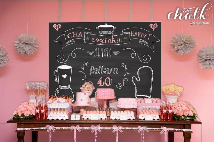 Painel chá de panela -backdrop - digital | Love Chalk | Elo7